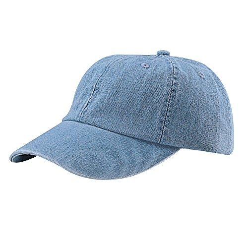 Denim Ball Cap - MG Womens Cotton Baseball Cap Hat, Light Blue Denim, One Size