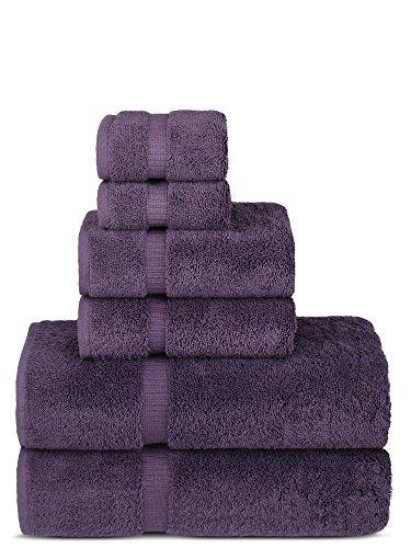 Luxury Spa and Hotel Quality Premium Turkish 6-Piece Towel Set (Plum, 2 x Bath Towels, 2 x Hand Towels, 2 x Washcloths)