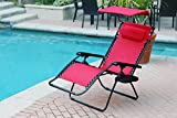 Jeco Set of 2 Oversized Zero Gravity Chairs with Sunshade - Red