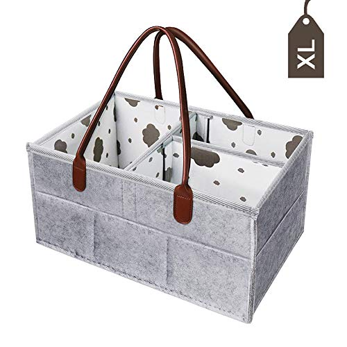 Baby Diaper Caddy Organizer - XL Cotton Diaper Storage Bin Changing Table Extra Large Capacity - Baby Shower Basket for Infant Girl Boy - Newborn Registry Must Have (Gray) by Jcrafter