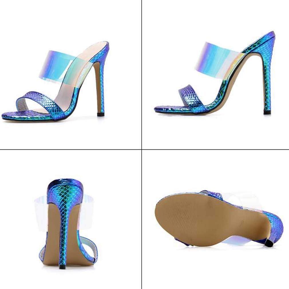 Mctere Comodo Sandalo Open Toe da Donna, Sandalo Mules da Donna, Sandali Estivi Comfy Wild Dress da Sposa Tacco a Spillo Silver