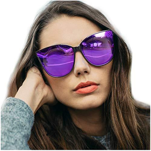 LVIOE Cat Eyes Sunglasses for Women, Polarized Oversized Fashion Vintage Eyewear for Driving Fishing - 100% UV Protection (Black Frame/Violet Lens Cat Eyes Oversized, Violet Mirror)