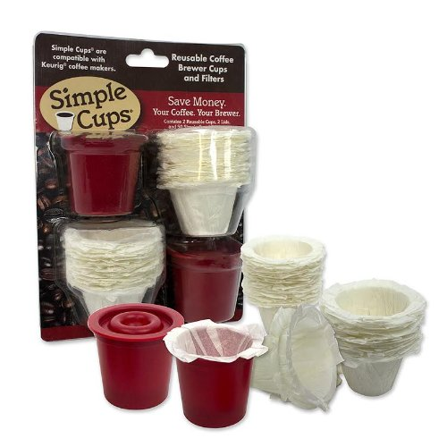 Reusable Coffee K-cup* Cups (Set of 2) with 50 Filters - 100% Compatible with Keurig*