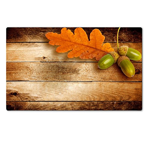 Personalized Oak Leaf Mat (Large Table Mat Autumn oak leaves and acorns on the abstract background IMAGE 22124467 by MSD Customized Large Tablemat Stain Resistance Collector Kit Kitchen Table Top Desk)