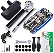 Bicycle Tyre Repair Tool Kit with 210 Psi Mini Pump,11-in-1 Multi-Tool(with Chain Breaker),Tyre Levers,Tire Pa