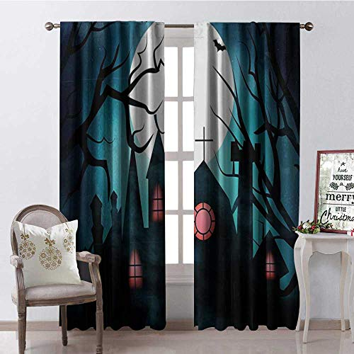 Hengshu Halloween Night Castle Moon Thermal Insulating Blackout Curtain Blackout Draperies for Bedroom W84 x L84 -