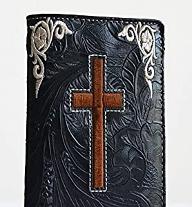 western men embroidery stitched cross long secretary bifold wallet