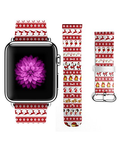 For Apple Watch 38mm Band - Reindeer & Candy Cane & Claus & Christmas stocking & Bells in (Fells Point Halloween)