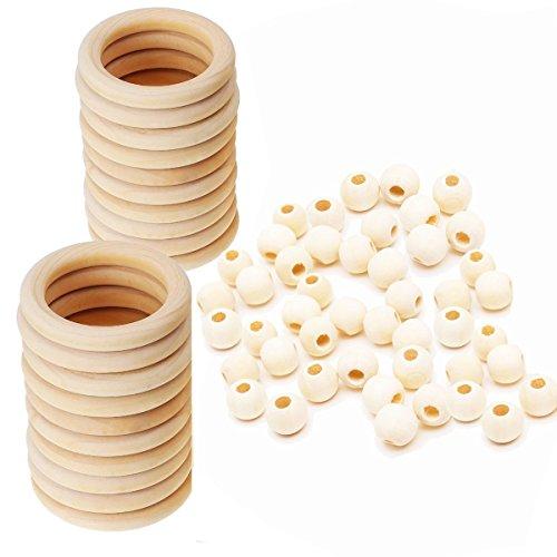 (Assorted Macrame Wood Beads Macrame Large Hole Unfinished Wood Rings Circles Macrame Wall Hanging Craft DIY)