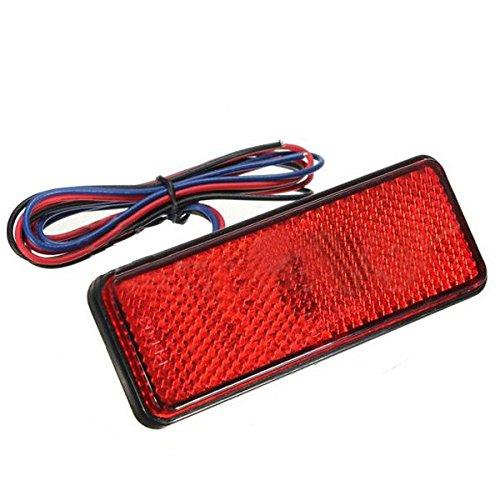 Feux d'arret LED - SODIAL(R)LED reflecteur arriere rouge queue frein arret pour camionnette remorque SUV moto 060690