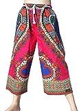 RaanPahMuang Branded Elastic Waist Casual Festival Dashiki Heart Shorts 3/4 Capri, Medium, Heart Print - Pink