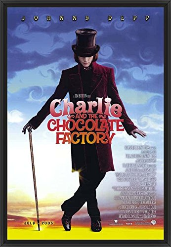 28in x 41in Charlie and the Chocolate Factory - Black Floater Framed Canvas w/ BRUSHSTROKES