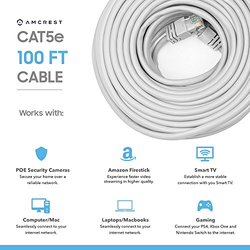 Amcrest Cat5e Cable 100ft Ethernet Cable Internet High Speed Network Cable for POE Security Cameras, Smart TV, PS4, Xbox One, Router, Laptop, Computer, Home (CAT5ECABLE100) by Amcrest (Image #1)