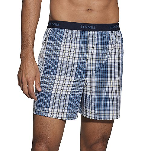 Hanes Classics Men'S Taglessreg Boxer With Comfort Flexreg Waistband 5-Pack (Classic Plaid Mens Boxer)