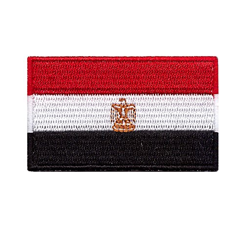 Egypt Flag Iron On Patch 2 1/2 x 1 1/2 (Small)