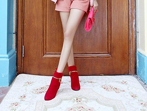 Aisun Damen Runde Zehen Seiden Schleife Reißverschluss Flach Kurzschaft Stiefel Rot