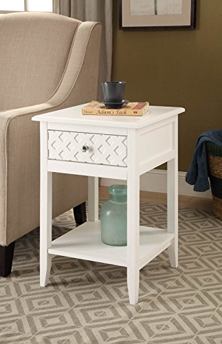 White Finish Patterned Drawer Side End Table Nightstand with Bottom Shelf - Finish: White Materials: Hardwood, MDF Features a pattern design in front of drawer and comes with a bottom shelf - living-room-furniture, living-room, end-tables - 51OWU23HZhL -