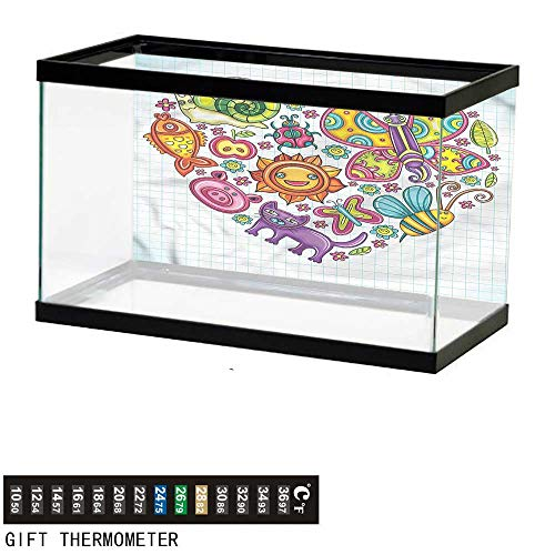bybyhome Fish Tank Backdrop Doodle,Flora and Fauna Heart,Aquarium Background,48
