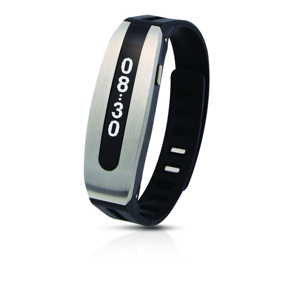 PAPAGO! GOLiFE Care Smart Fitness Band, Activity Tracker, Sleep Monitor, Smart Notification, Text Message, Emails, Social Medias, Messengers, Alarms, Idle Alert (Silver Black)