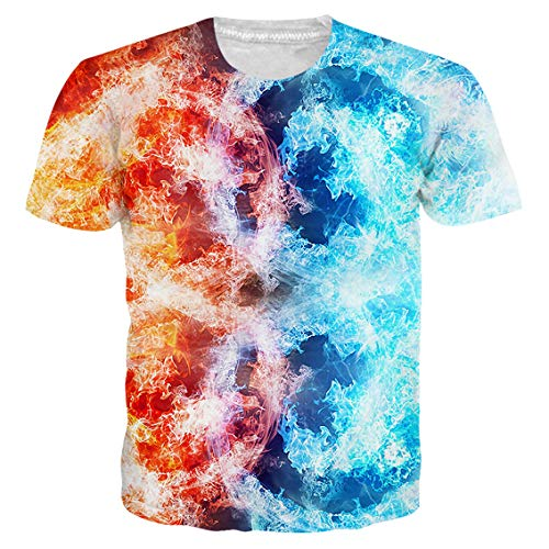 UnisexTie Dye Fire Shirts 3D Printed Graphic T Shirts Vintage Casual Short Sleeve Tops Tees ()