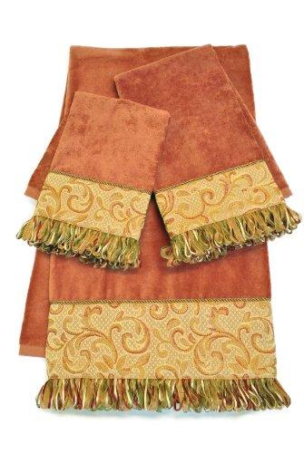 Orange Sherry (Sherry Kline Swirl Paisley 3-Piece Decorative Towel Set, Coral)