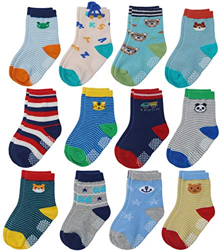 Flanhiri Baby Boys Toddler Non Skid Cotton Socks with Grip (1-3 Years, 12 Pairs - Set 4/713717) (Socks Winter Thin)