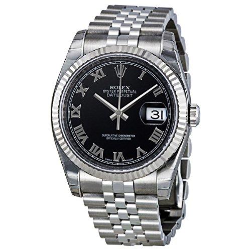 (Rolex Datejust Black Roman Dial Jubilee Bracelet Fluted Bezel Mens Watch 116234BKRJ)