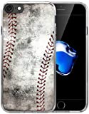 Case for iPhone 8/Case for iPhone 7/IWONE Designer Non Slip Rubber Durable Protective Skin Transparent Cover Shockproof Compatible for iPhone 7/8 Creative Vintage Baseball Art Pattern Printing