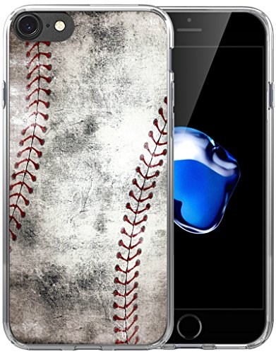 8 Case/7 Case/IWONE Designer Non Slip Rubber Durable Protective Skin Transparent Cover Shockproof Compatible with iPhone 7/8 Creative Vintage Baseball Art Pattern Printing