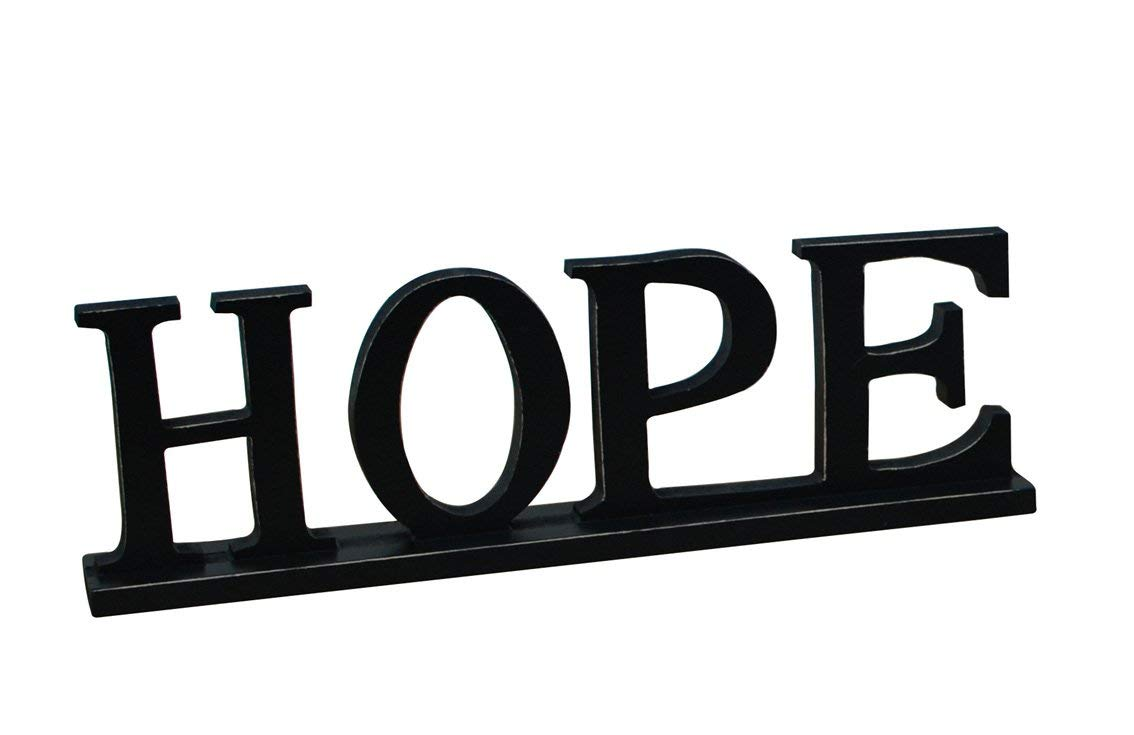 Rainbow Handcrafts Black Wooden Cutout Hope Sign Home Wall Décor Kitchen Tabletop Fireplace Mantel Centerpiece Decoration Free Standing Rustic Wood Cutout Letters Accents