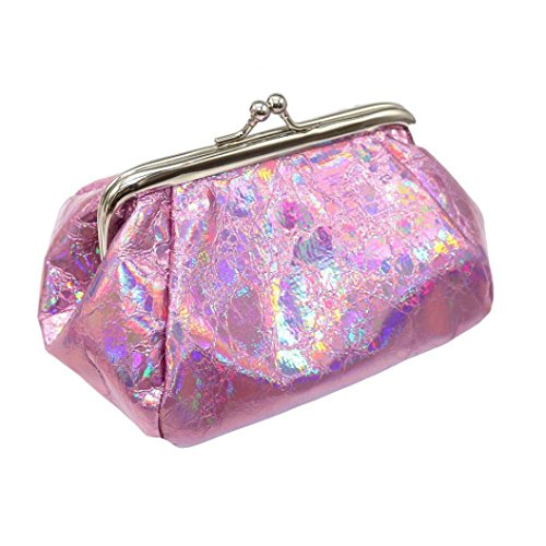 (Inverlee Women Girls Reflector Laser Coin Purse Bag Shining Evening Wedding Party Handbag Wallet Bag Change Pouch Key Holder (Hot Pink))