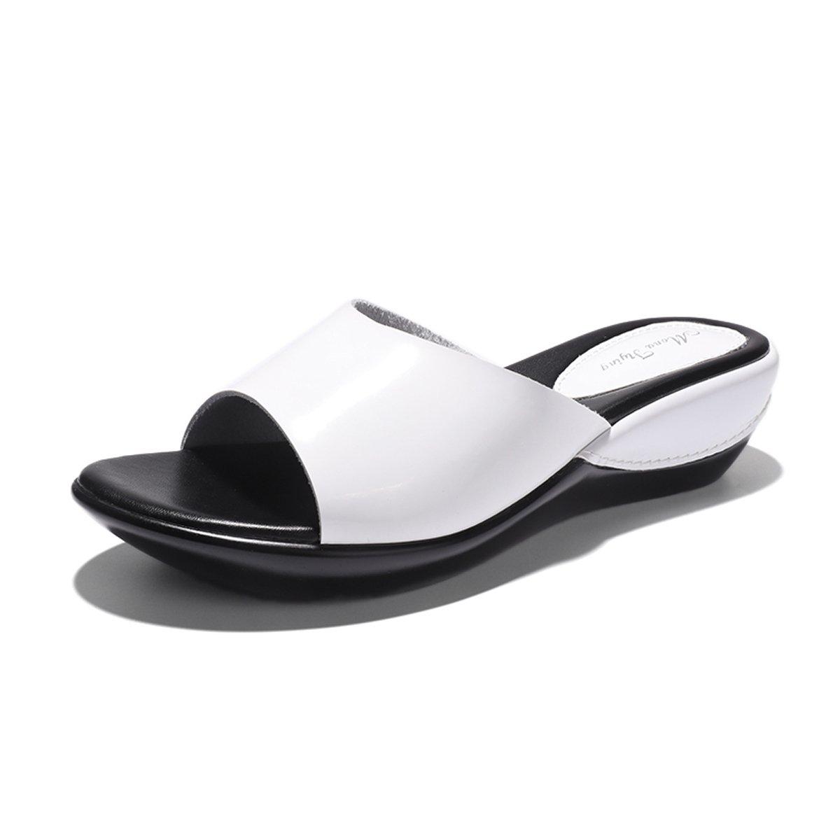 Mona Flying Women's Genuine Leather Platform Wedge Slide Sandals for Women Slip On Sandals B07DW58V2K 5 M US|White