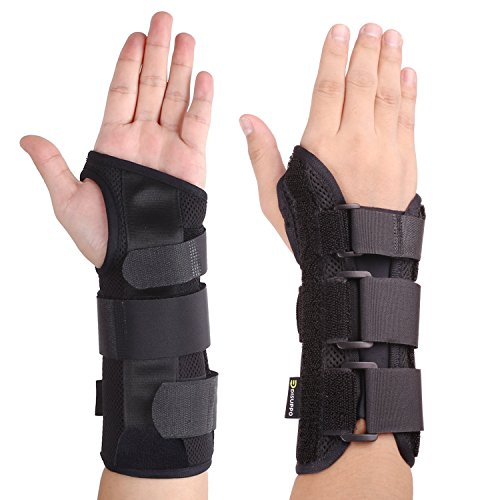 Wrist Brace with Nighttime Removable Splint for Hand - Relief for RSI, Cubital Tunnel, Tendonitis, Arthritis, Wrist Sprains. Support Recovery Wrist Pain & Sports Injuries-Right (Removable Splint)