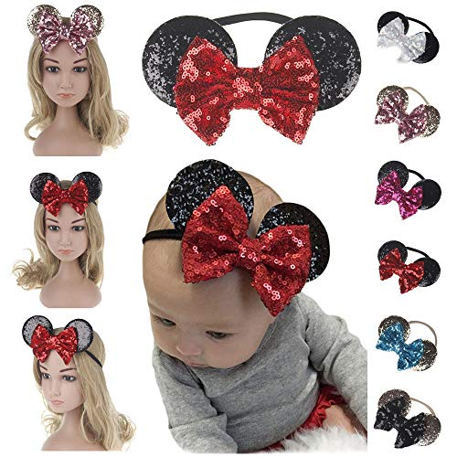 Headbands For Kids MINNIE Sequins Hair MOUSE Girls Baby EARS Bow knot