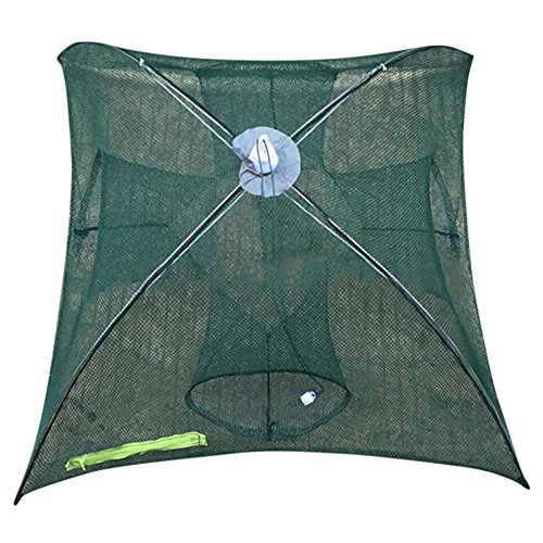 ( Orcbee  _Holes Automatic Fishing Net Shrimp Cage Nylon Foldable Crab Fish Trap Cast (A))