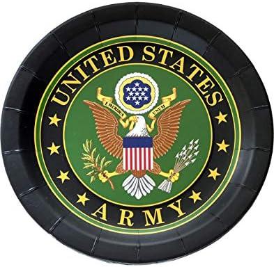"""US Armyパーティープレート( 9""""ラウンドプレート、公式Army Crest、8パック)アメリカ陸軍パーティーコレクションby Havercamp"""