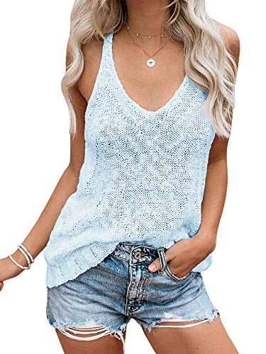 (Ybenlow Womens Summer Knit Racerback Tank Tops V Neck Sleeveless Sweater Casual Sheer Vest Shirt Blouses Blue)