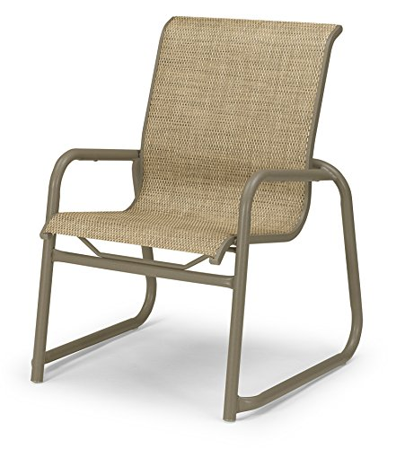 Telescope Casual Furniture Reliance Contract Sling Collection Stacking Aluminum Sled Base Arm Chair, Bark, Aged Bronze Finish