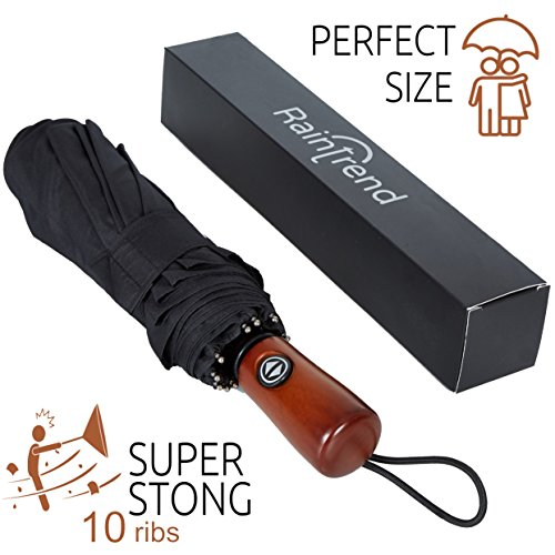 New Premium Umbrella Windproof - Large Umbrella Travel - Compact Umbrella Automatic - Travel Umbrella Folding - Portable Umbrella Auto - Oversized Umbrella Black Rain Umbrella - Mens Umbrella Compact ()