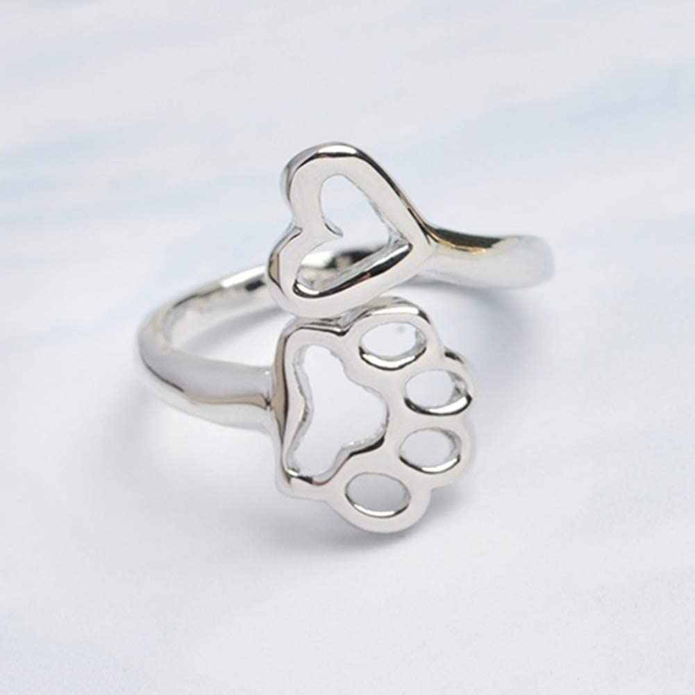 Acamifashion Adjustable Opening Ring Hollow Love Heart Dog Paw Ring Jewelry for Dog Owner