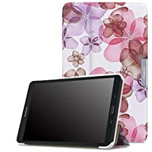 MoKo Samsung Galaxy Tab E 8.0 Case - Ultra Lightweight Slim-shell Stand Cover Case for Samsung Galaxy Tab E 8.0 Inch SM-T377 4G LTE Verizon / Sprint Tablet, Floral PURPLE