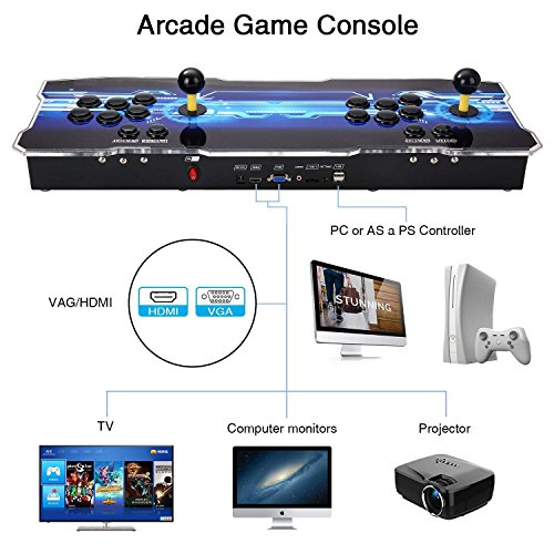 3D Pandora's Key Retro Home Arcade Game Console | No Games Pre-loaded | Full HD (1920x1080) Video | 2 Player Game Controls | Support 4 Players | Add More Games | HDMI/VGA/USB/AUX Audio Output by HAAMIIQII (Image #2)