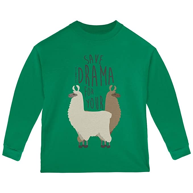 1fc70888 Old Glory Save The Drama for Your Llama Pun Toddler Long Sleeve T Shirt  Green 2T