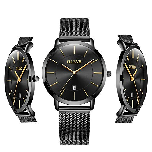 Watches Women Trendy - Thin Watches for Women Waterproof - OLEVS Black Inexpensive Couples Minimalist Watches Stainless Steel with Date Women Analog Quartz Gift Watch for Birthday Party Business