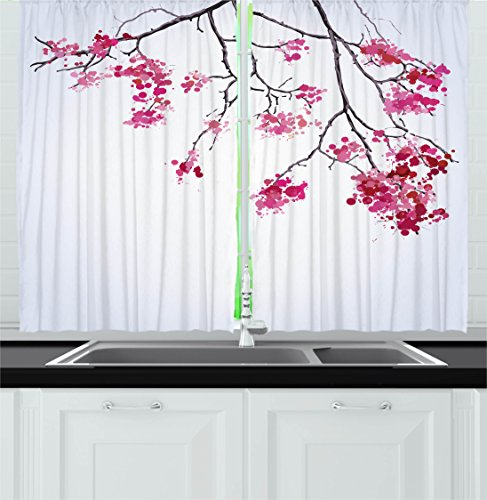 Japanese Decor Kitchen Curtains by Ambesonne, Cherry Blossom Sakura Tree Floral Branch Spring Season Theme Culture Image, Window Drapes 2 Panels Set for Kitchen Cafe, 55W X 39L Inches, Fuchsia Blue (Them With Kitchen On Cherries Curtains)