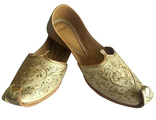 Step N Style Uomo Punjabi Jutti Sherwani Scarpe Crema Taglio Lavoro Zari Khussa Scarpe Perline Calzature Da Sposa Slip On Crema Oro
