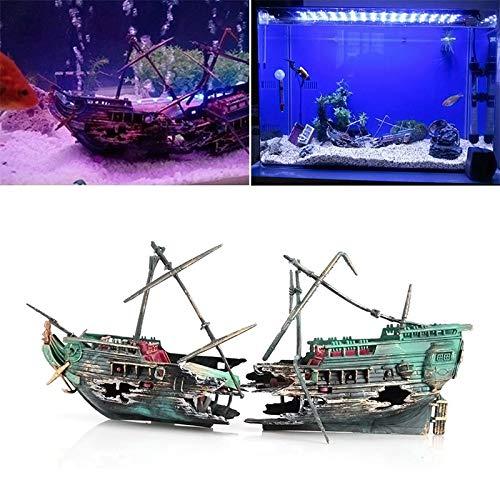 Aquarium Fish - Sunk Wreck Boat Aquarium Ornament Ship Sailing Destroyer Air Split Shipwreck Fish Tank Cave Decor - Decor Aquarium Shipwreck Figurines Ornament Ship Boat Cave Disc Wreck Tank - Miniature Destroyer