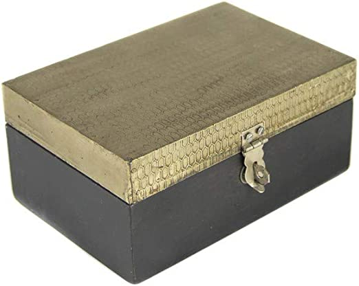 tapidecor Caja Madera Rectangular Negra con Tapa Dorada 15X10X8: Amazon.es: Hogar