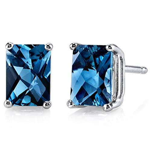 (14 Karat White Gold Radiant Cut 2.25 Carats London Blue Topaz Stud Earrings)