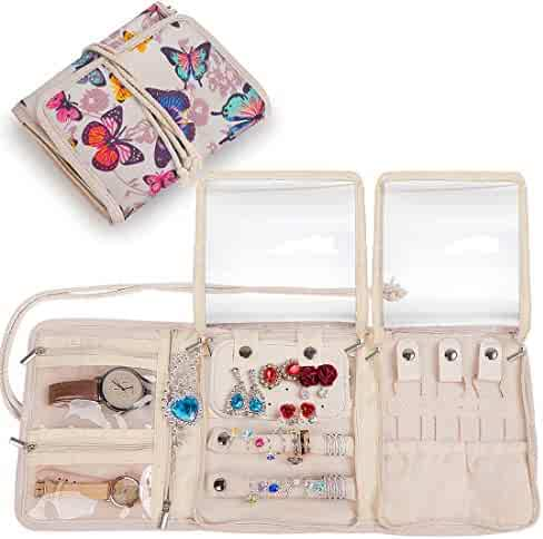 365175bb0 Travel Jewelry Roll,Jewelry Storage Bag Organizer for Earrings,Necklaces ,Bracelets,Rings